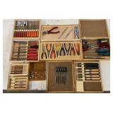 BOXES OF PLYERS, SCREW DRIVERS, CHISELS, ETC.