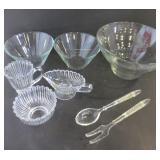 "GLASS BOWLS (7"", 10""), SALAD SERVERS, SUGAR BOWL,"