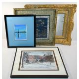 3 FRAMED PICTURES INCLUDING ASIAN EMBROIDERY &