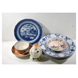 4 CHINESE PLATES, TEA BOWL & PLATE,SALT CELLAR,
