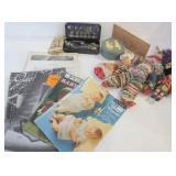 BOX OF SEWING MACHINE PARTS, KNITTING MAGAZINES,