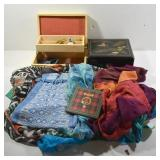 2 JEWELRY BOXES AND ASSORTED SCARVES