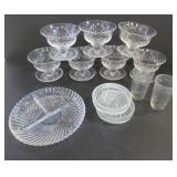 SET OF 7 CRYSTAL DESSERT DISHES, GLASS DIVIDED