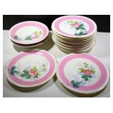 11 PLATES WITH 2 PEDESTAL PLATES, MULTIPLE CHIPS