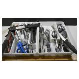 ASSORTED CUTLERY IN 2 WHITE PLASTIC HOLDERS