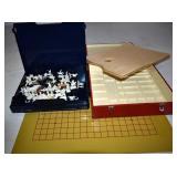 GAME BOARD, EMPTY RED BOX, BLUE BOX HAS MINIATURE