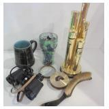 COIN HOLDER, BINOCULARS, MAGNIFYING GLASS, MUG
