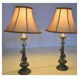 PAIR OF VINTAGE LAMPS W/ ANGLES & CRYSTALS