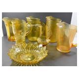 AMBER GLASS JUGS (6) & BOWL