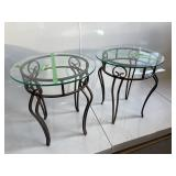 """PAIR OF 22"""" GLASS TOP SIDE TABLES"""