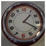 ERGO RED & SILVER CLOCK, 11.75