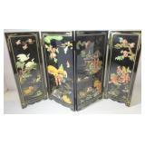 BLACK LACQUER 4-PANEL TABLE TOP DIVIDER WITH GOLD