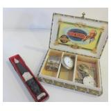 CIGAR BOX WITH WATCH PARTS, LETTER OPENER