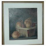 OIL ON BOARD UNSIGNED ONIONS IN A BASKET
