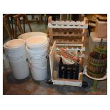 BUCKETS, PRESS CART FOR CARBOYS, CORK REMOVER,