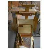 BOX OF VENEER PIECES & 1 SAW HORSE