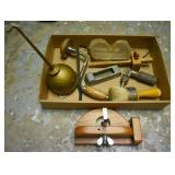HAND DRILL, OIL CAN, GOGGLES, RASP, BRUSH