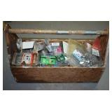 WOODEN TOOL CADDY FILLED WITH SCREWS, NAILS ETC
