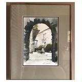 FRAMED PAINTING OF COURTYARD