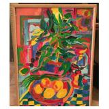FRAMED PAINTING ON BOARD OF FRUIT & PLANT