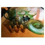 SHOT GLASSES (8), GREEN MUG, 4 MARTINI GLASSES
