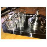 GLASS W/ SILVER OVERLAY EDGE (5), PLATTER, FUNNEL