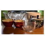 GLASS BOWL, CUPS, SUGAR BOWL