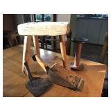 RUSTIC SMALL STOOL, WOODEN SPOOL