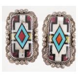 Pair NAVAJO Sterling Inlaid Stone Earrings