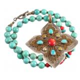 Navajo Turquoise & Coral Sterling Necklace