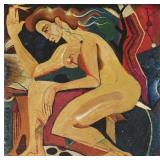 Early 20th Century, Oil on tile, Female nude