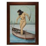 Old Florida Painting, Nude Woman Fishing