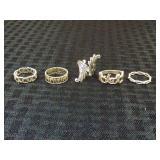 (5) .925 Sterling Rings