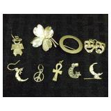 Sterling Charms & Pins Grouping