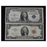 1963 $2 Red Seal & 1935c $1 Silver Certificate