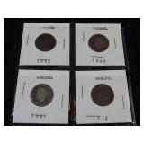 4 V Nickels :1903,1904,1907,1912