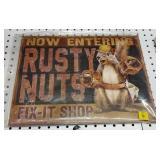 Rusty Nut Tin Sign