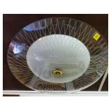 Etched Glass Mid Century Modern Ceiling Lamp