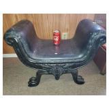 Black Leather Antique Ottoman Bench