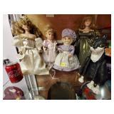 (3) Porcelain Dolls & Handmade Doll
