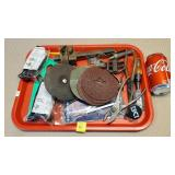Tray of Hand tools & Sandpaper