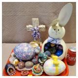Tray of Pysanky, Ceramic, Decorative Eggs