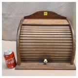 Wood Roll Top Bread Box