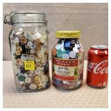2 Jars of Assorted Buttons