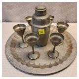 Vintage Brass Cocktail Shaker, 6 Goblets, Tray