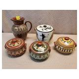 Lot of Terracotta Stoneware Pottery Pitcher, Bowls