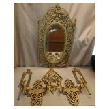 Plastic Gold Gilded Style Mirror, Wall Sconces