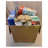Box Lot of Tin Cans, Household, Plastics, etc