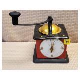 Tin Electric Coffee Grinder Clock