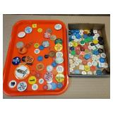 Tray of Buttons, Pins, Wood Nickels, Drinking